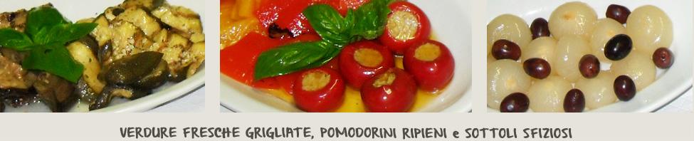 I contorni della Focacceria il Selvatico: melanzane al prezzemolo, verdure ripiene e sottoli, cipolline