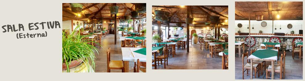 Sala estiva: la sala esterna della pizzeria Il Selvatico